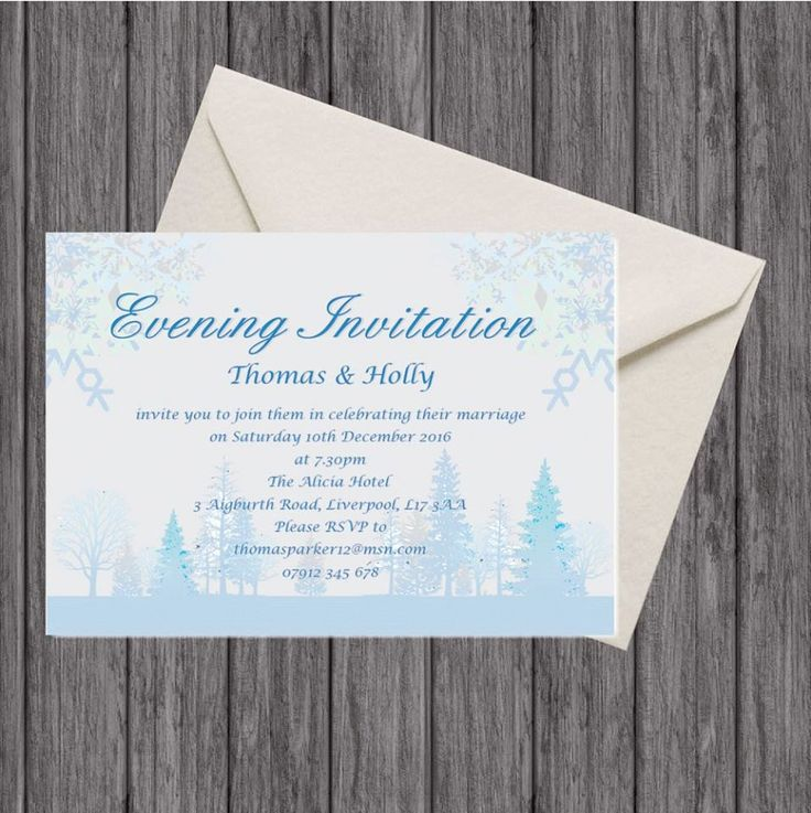 Winter Wedding Evening Invitation and Envelope, Winter Wedding Package by LoobyDooLetters on Etsy