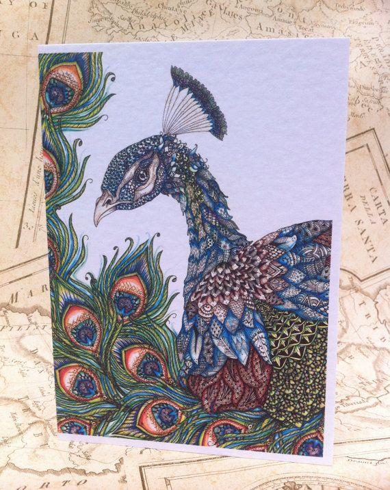 Peacock Card A6 Greeting Card Greetings card by RosehartStudio