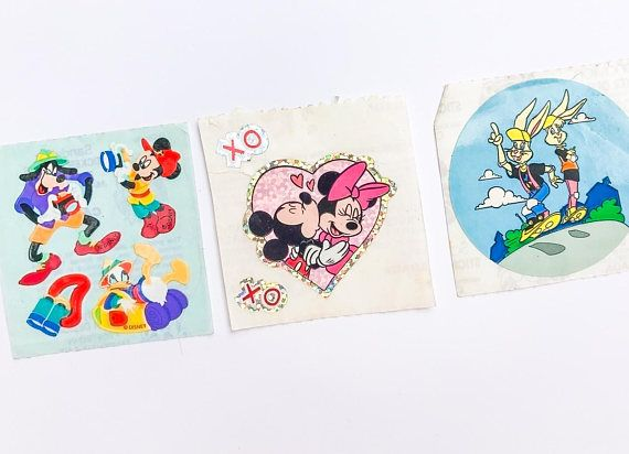 3 vintage Sandylion sticker squares featuring Disney characters Goofy, Minnie & Mickey, and the other two I dont recall!  ***** Please note items are being shipped via ground shipping with Canada Post. Tracking and insurance is not included in this standard shipping rate. If you would like to receive a tracking number, kindly let us know!
