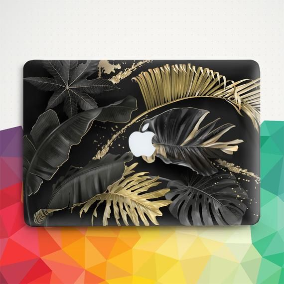 Leaf Macbook case Floral Macbook Pro 13 inch Air 13 Pro 15 2019 Macbook 12 Nature Tropical Gold Leaves Black Girl Dark Aesthetic Hard cover