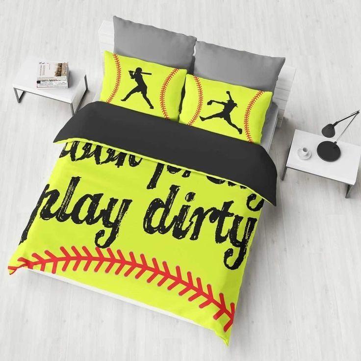 Pin By Softball Daily Upload On Softball Softball Bedding Set Baseball Bed Softball Bedroom