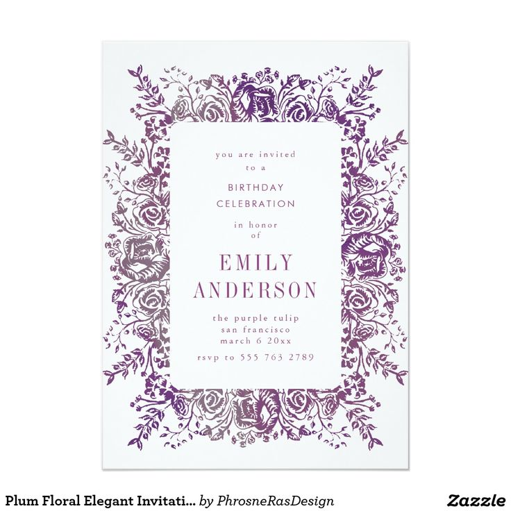 Plum Floral Elegant Invitation #zazzle #invitation #stationery #tabletop #flowers #floral #organic #original #illustration #designer #suite #elegant #stylish #phrosneras #phrosnerasdesign #calligraphy