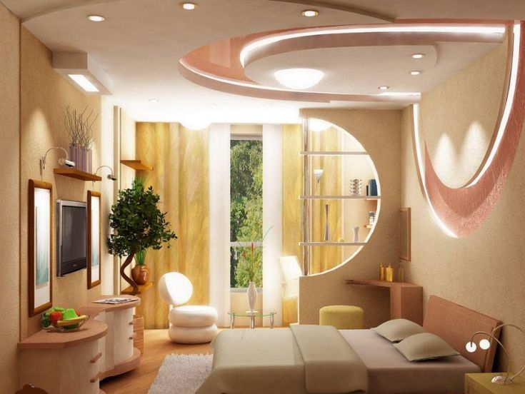 Modern Bedroom Ceiling Made Of Gypsum And Furniture Set Wall Table Curtain Carpet Models 2016