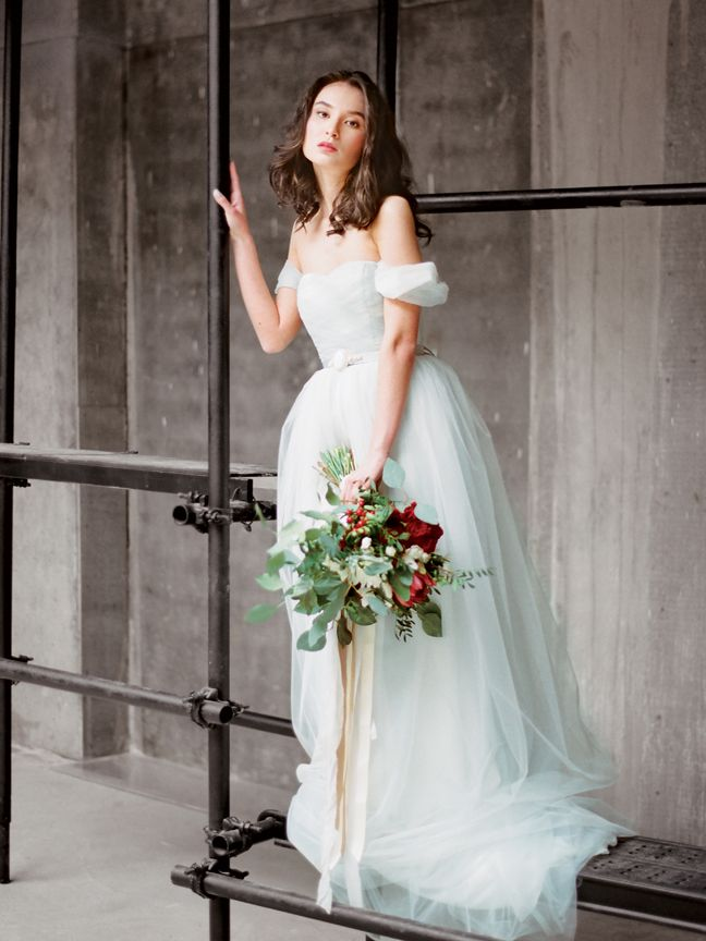 Grey tulle wedding dress Arsenia by Milamira Bridal
