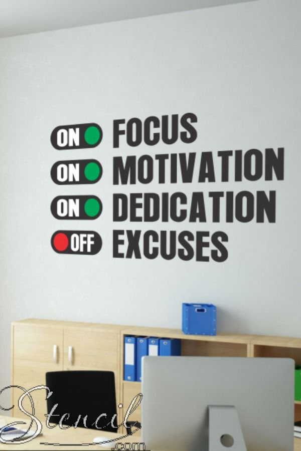 Focus Dedication Motivation On Excuses Off Wall Art Decals High School Classroom Inspire Students High School Bulletin Boards