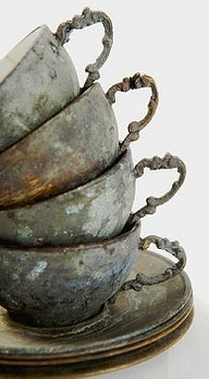 old rustic tea cups