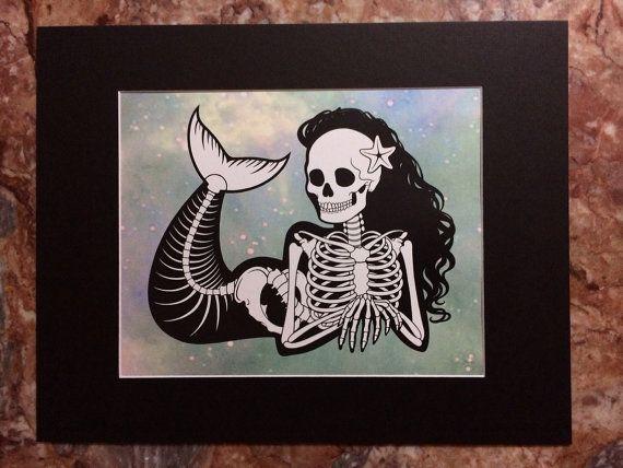 Mermaid Skeleton Print by PrettyPixelations on Etsy                                                                                                                                                     More