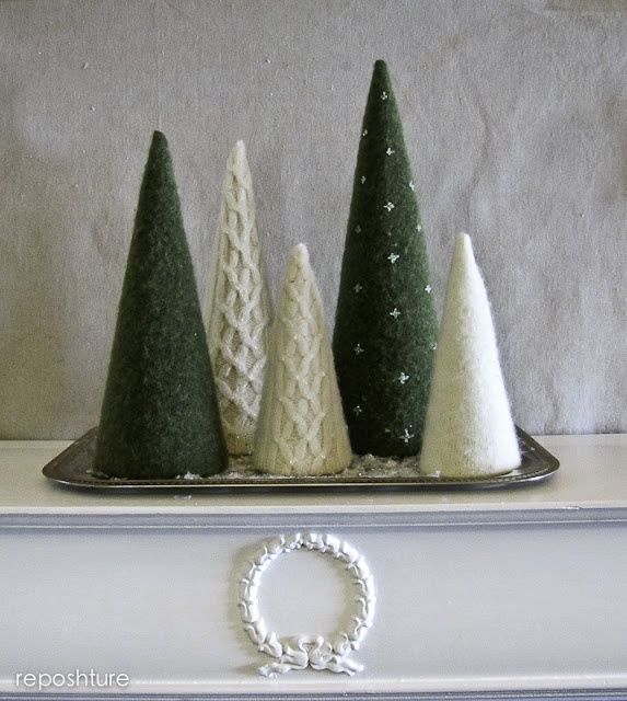 Trees Made From Repurposed Felted Wool Sweaters.  West Furniture Revival