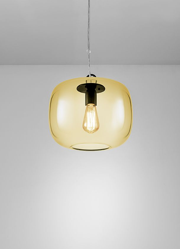 Satin Black and Amber glass ceiling pendant. Also available in Smoke and Mirrored finishes