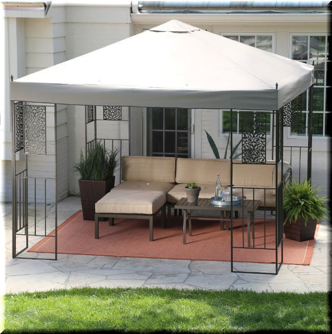 details about gazebo canopy 10x10 tent outdoor patio backyard shelter metal rectangle durable