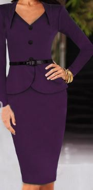 This corporate style dress is a two piece look with buttons going down the…