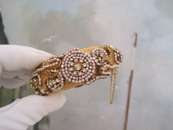 Miriam Haskell Bracelet Hinged Rhinestones Pearls by sprucedroost, $375.00