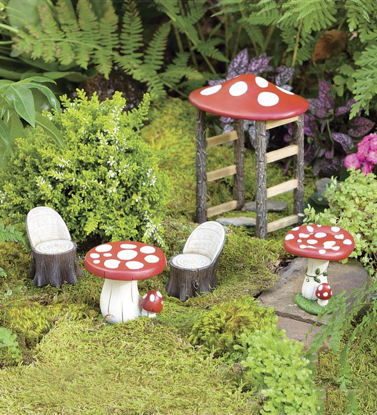 Miniature Fairy Garden Mushroom Furniture Set