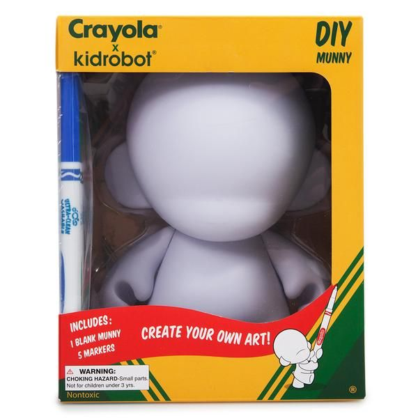 """From the Crayola x Kidrobot Collection, the Crayola 7"""" MUNNY is a refreshing take on Kidrobot's signature DIY platform. The Crayola 7"""" MUNNY comes packaged in a"""