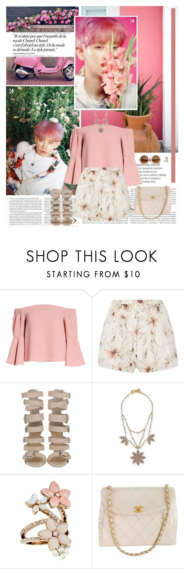"""""""Ko Ko Bop"""" by karydkaulitz ❤ liked on Polyvore featuring Chanel, Topshop, Haute Hippie, Lulu Frost, Accessorize, kpop, EXO and chanyeol"""