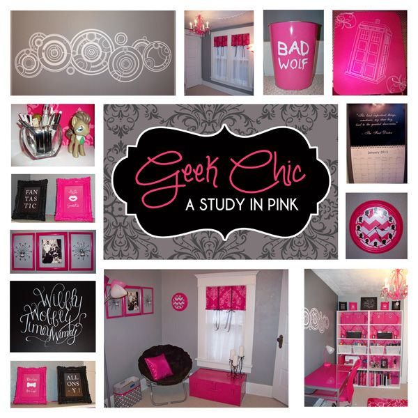 geek chic a study in pink i am loving my new girly doctor who themed office with a hint of. Black Bedroom Furniture Sets. Home Design Ideas