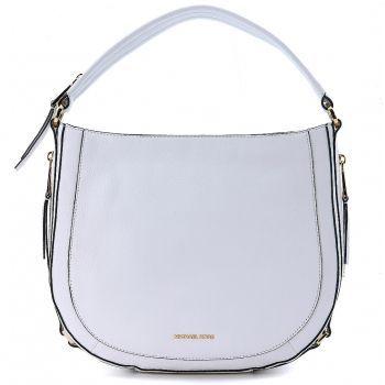 Geanta de umar Michael Kors Julia White Leather Shoulder Bag White dama