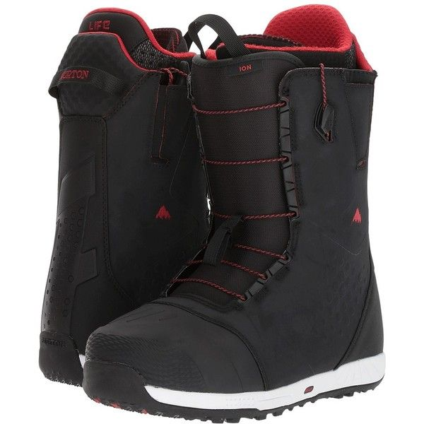 Burton Ion '18 (Black/Red) Men's Cold Weather Boots (£310) ❤ liked on Polyvore featuring men's fashion, men's shoes, mens shoes, mens lace up shoes, mens fur lined shoes, burtons mens shoes and mens low profile shoes
