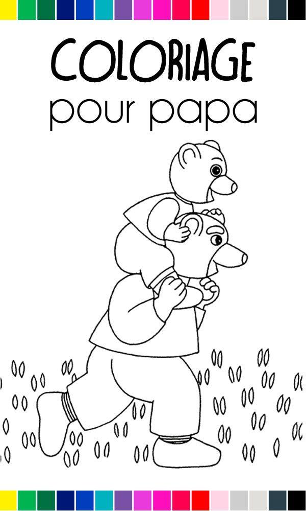 Petit Ours Brun Est Sur Les épaules De Papa Ours Voici Un