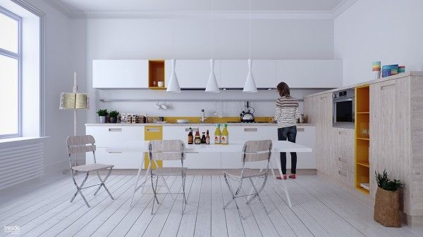 White on white is not always easy to pull off, but with just a bit of wood and some splashes of yellow, it works.
