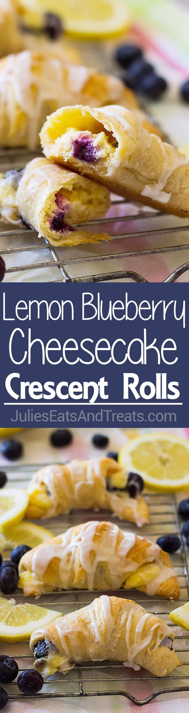 Crescent Rolls ~ Filled a with Creamy, Sweet and Tangy Lemon Filling and Bursting with Fresh Blueberries! Perfect for Dessert, Breakfast or Brunch! ~ http://www.julieseatsandtreats.com