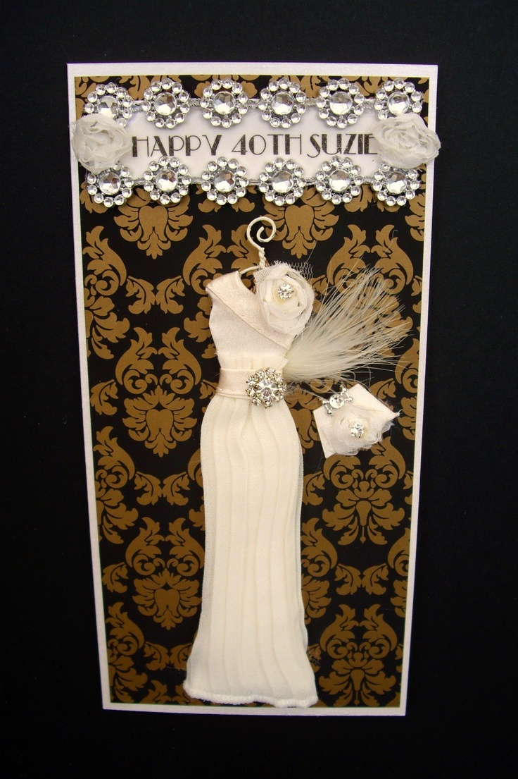 RESERVED listing for Trish Suzie Personalised Art Deco Dress Card / Handmade Greeting Card. $15,00, via Etsy.