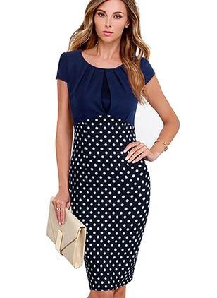 Polyester Polka Dot Short Sleeve Knee-Length Elegant Dresses (1955103393)