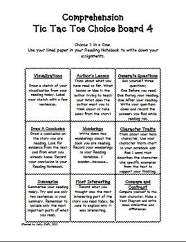 Comprehension Tic-Tac-toe,for reader's response