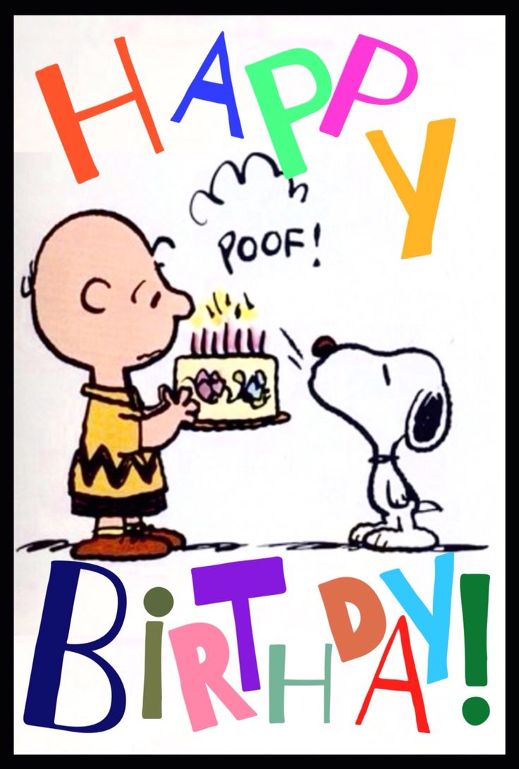 """Happy Birthday!!"" from Charlie Brown and Snoopy."