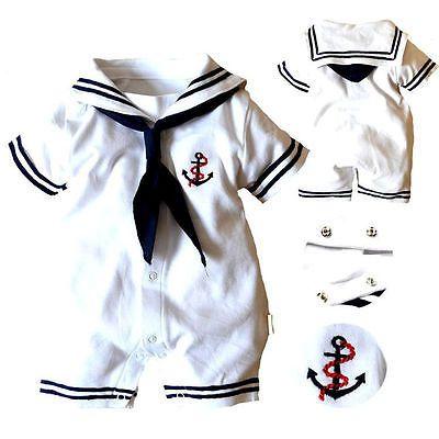 Top Baby Boy Romper Jumpsuit Bodysuit Anchor Sailor Clothes Outfits Costume