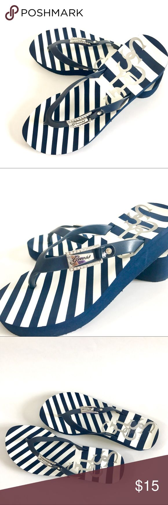 GUESS Platform blue & white striped Flip Flops Blue and White Sailor Platform Guess Flip Flops, Worn Once, Size 8 Guess Shoes Sandals