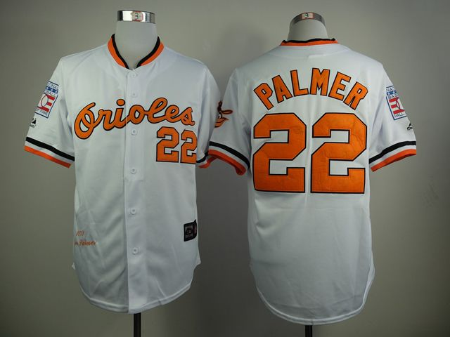 ecd7e8b9d63 MLB Baltimore Orioles 22 Palmer White 1970s Throwback with Hall of Fame  Patch Jersey