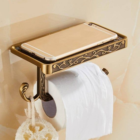Antique Looking Wall Mounted Mobile Stand Attached With Tissue Etsy In 2020 Toilet Paper Holder Bathroom Toilet Paper Holders Vintage Toilet