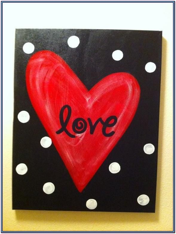 Heart Canvas Painting Ideas Love Canvas Painting Crafts Diy Canvas Art