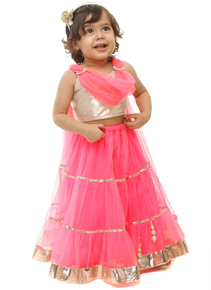 Kidology Maya Nocon Pink Net Lehenga Choli | Kids Lehengas | Kids Clothing : www.homeindia.com