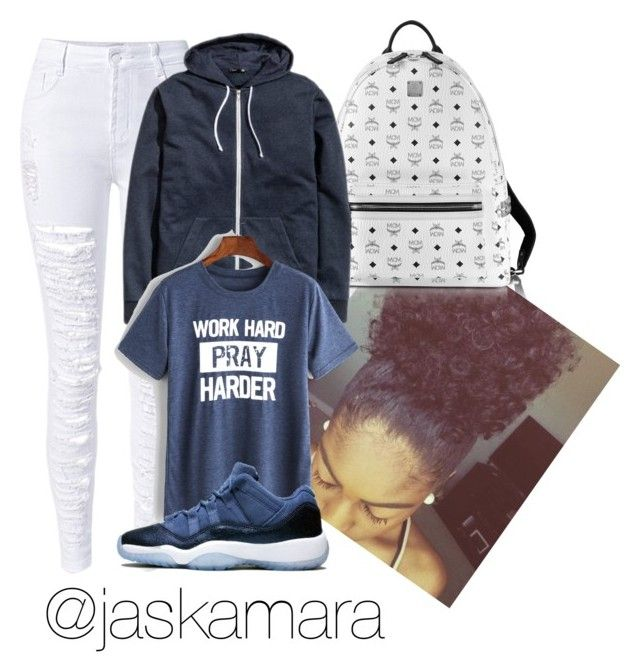 """Air Jordan 11 blue moon // Jordan swag outfits"" by jaskamara on Polyvore featuring MCM and WithChic"