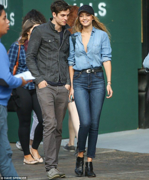 Getting close: Gigi Hadid, 19, was seen in the company of a mystery man while out and about in New York City on Friday