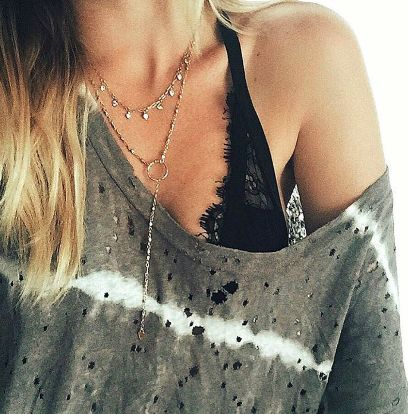 Nice neckline / layering a gypsy collar over a Lariat and lace bralet