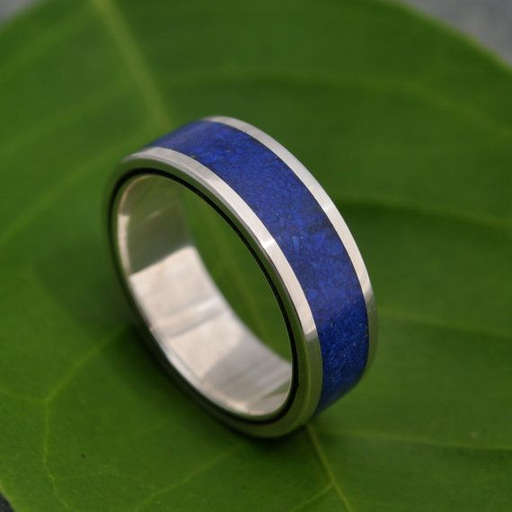Lados Lapiz Azul  blue stone and wood ring with by naturalezanica, $279.00