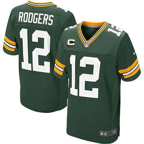 Mens Nike Green Bay Packers #12 Aaron Rodgers Elite Green Team Color C Patch NFL Jersey