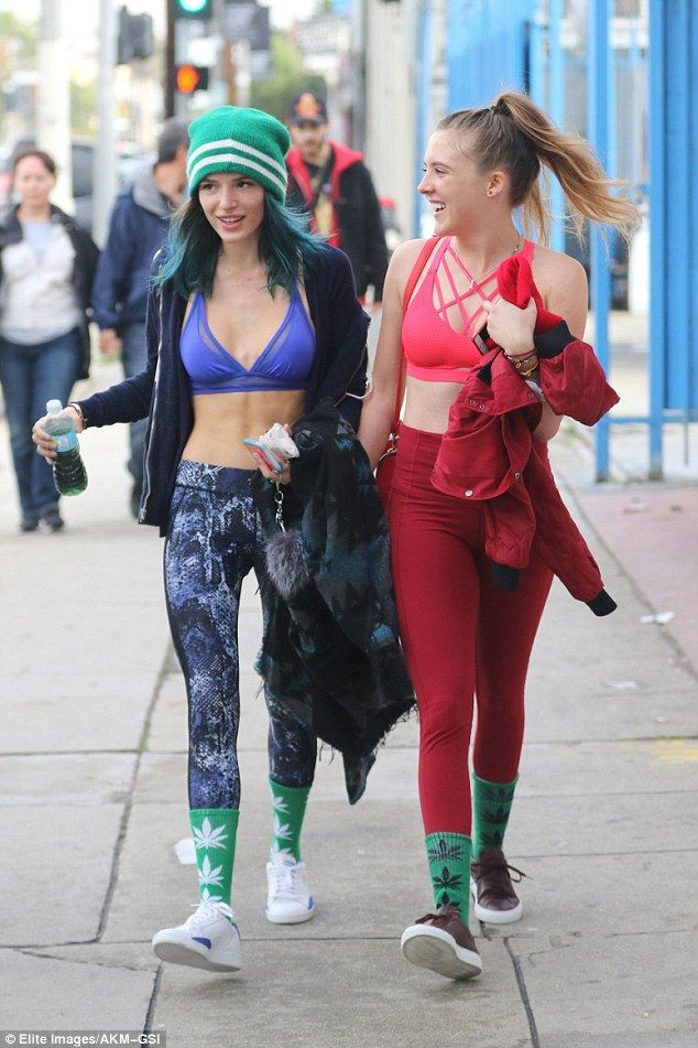 Same! The actress and her friends all sport matching socks with marijuana plants on them, pulling them up over their yoga pants