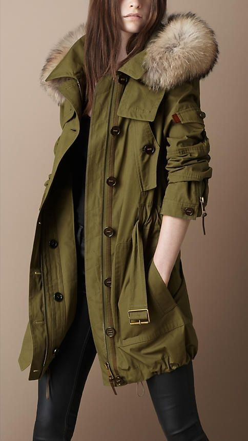 Khaki coat with fur collar