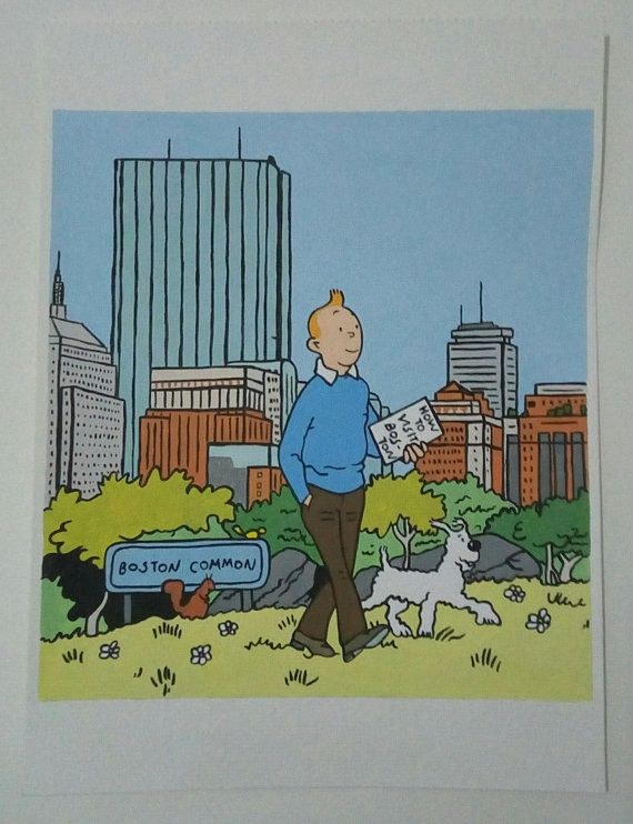 Tintin And Milou Snowy In Boston Painting Tintin Comic Painting