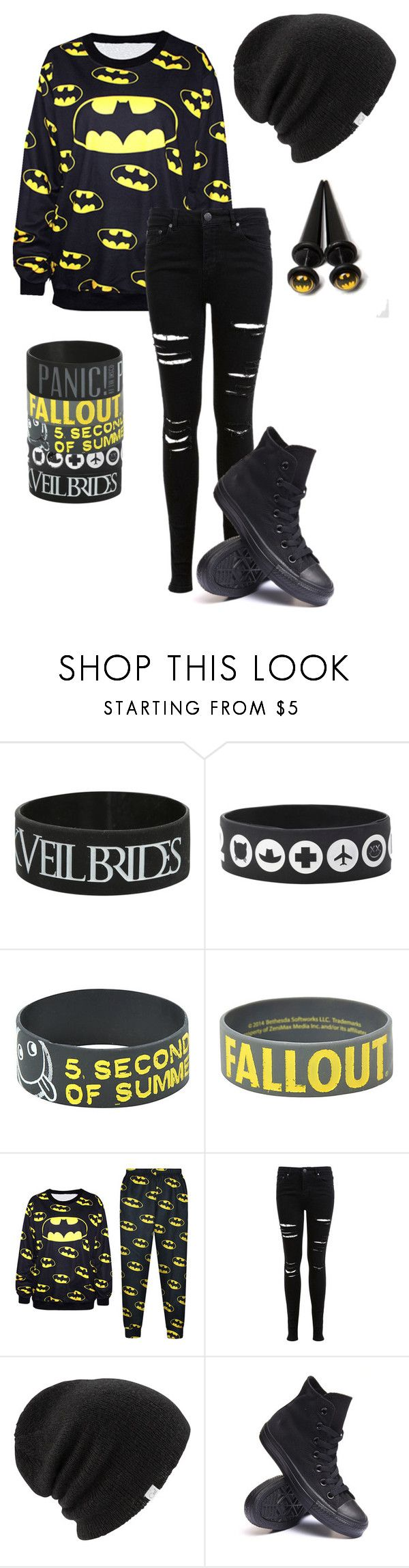 """Batmannnn"" by bands-are-my-savior ❤ liked on Polyvore featuring Miss Selfridge, Coal and Converse"