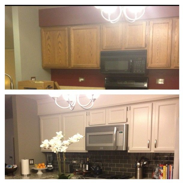 Hide soffit above kitchen cabinets by adding crown molding for Adding crown molding to existing kitchen cabinets