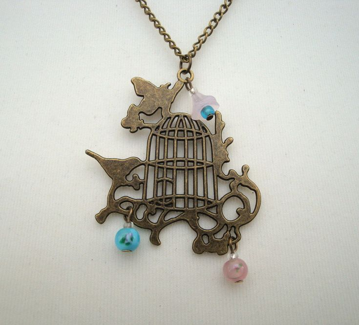 Birdcage necklace, antique bronze, vintage inspired beads flower pink, pale blue, shabby style by PirateTreasures on Etsy