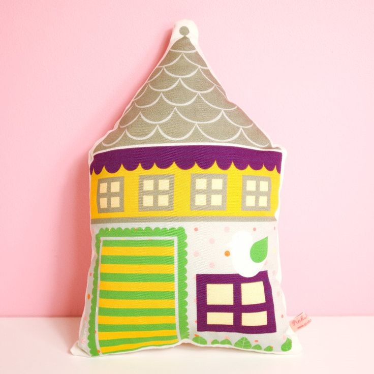 decorative house pillow printed in high quality cotton fabric in grey, yellow and violet with little bird. €19.00, via Etsy.