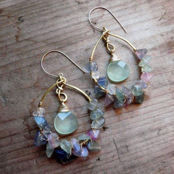 Sea glass  - Aqua chalcedony and rainbow fluorite hoops - Mermaid luxe