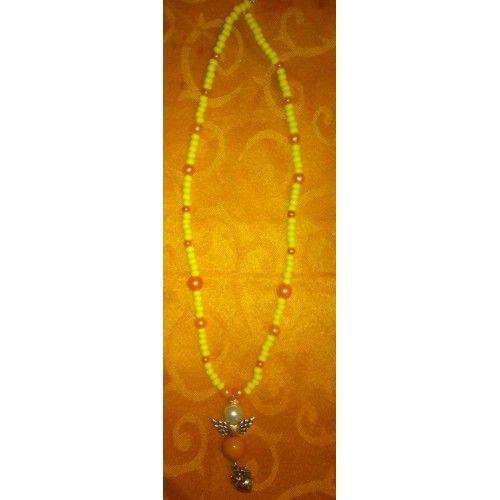Kette mit persönlichem Schutzengel, Perlenengel - Handarbeit - Unikat