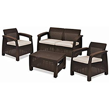 Amazon.com: Keter Corfu 4 Piece Set All Weather Outdoor Patio Garden Furniture w/ Cushions, Brown: Patio, Lawn & Garden #affiliate